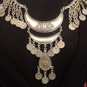 Jewelry - Roman Coin Silver Tone Large Necklace